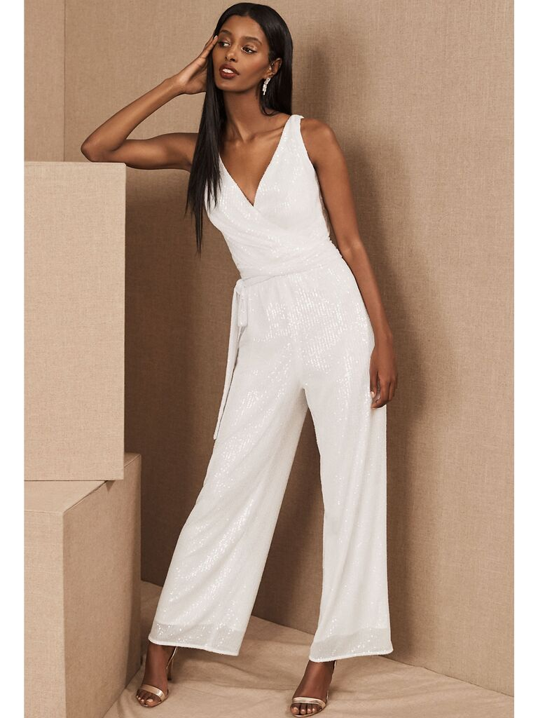 White sequin jumpsuit