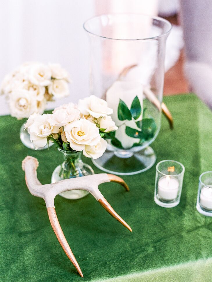 Gold-Dipped Antler Centerpieces with Bud Vases