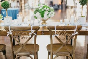 Simple Wooden Signs at Sweetheart Table