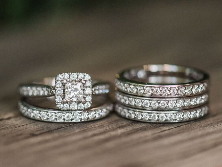 diamond engagement and wedding rings with channel setting