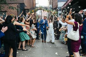 Casual Exit with Tossed Rose Petals and Guests