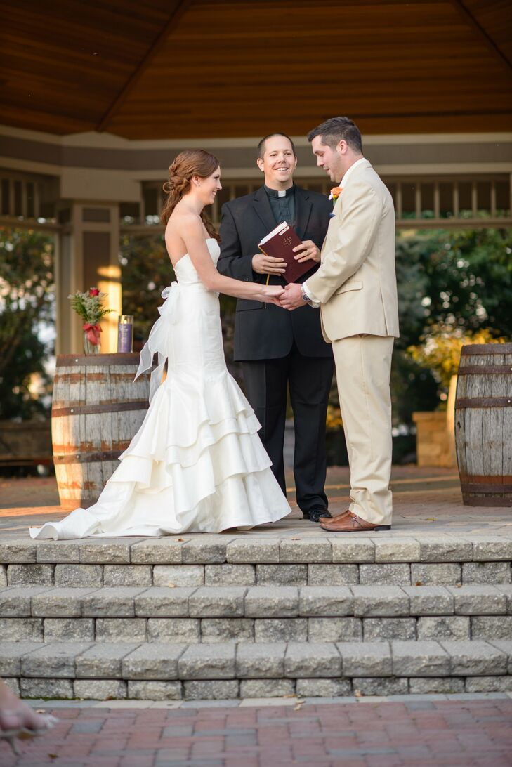 The ceremony was held outdoors on a gazebo at CD & ME.