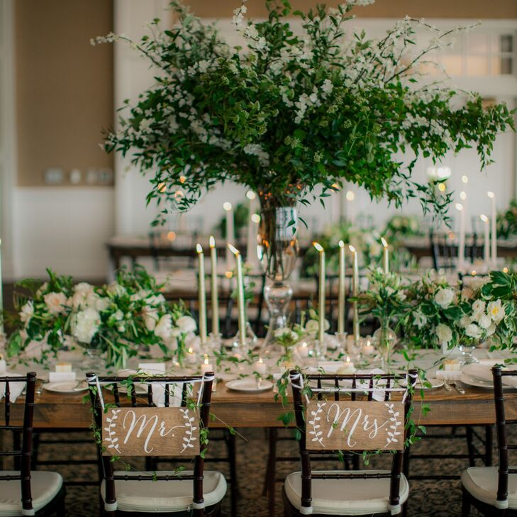 Large Centerpiece with Greenery at Sweetheart Table