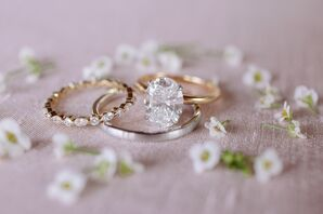Elegant Solitaire Diamond Ring and Simple Wedding Bands