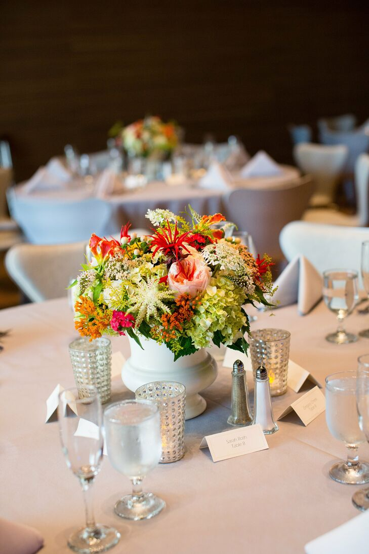 Crisp white linens allowed the colorful centerpieces to take center stage at the reception.