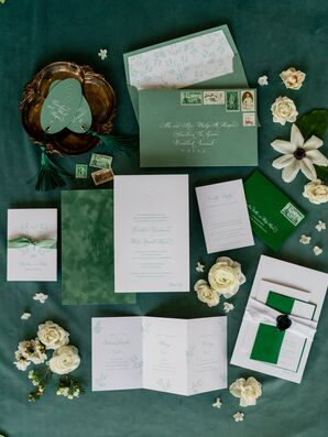 Green Invitation for Wedding at The Woodstock Inn and Resort in Vermont