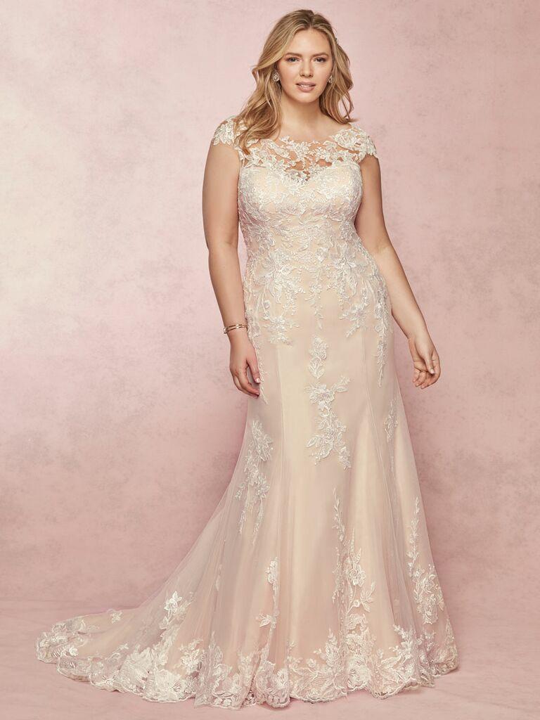 Rebecca Ingram Spring 2019 lace plus size wedding dress with cap sleeves