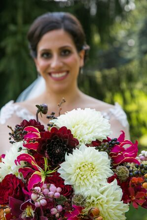 Ivory, Burgundy and Fuchsia Bouquet with Exotic Flowers