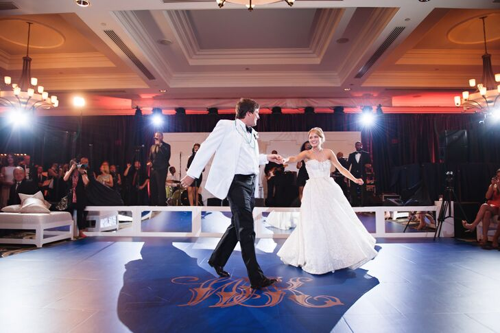 """Kelly and Walt started the night with an upbeat song, """"Your Love Keeps Lifting Me Higher"""" by Jackie Wilson. They'd been dancing together for years—Kelly loved how her Pnina Tornai ball gown spun around her as Walt twirled her."""