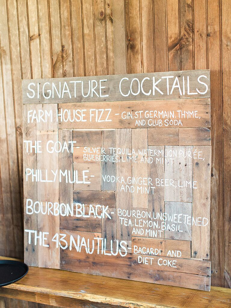 Rustic wedding reception cocktail sign