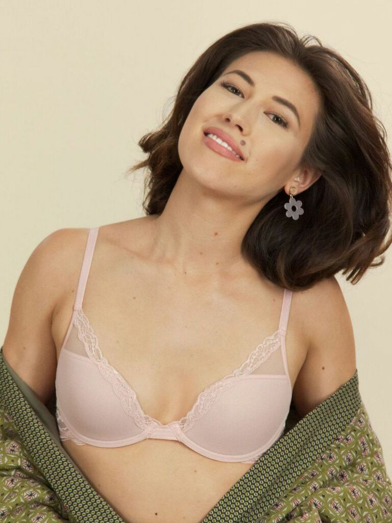 pink petite lace bra