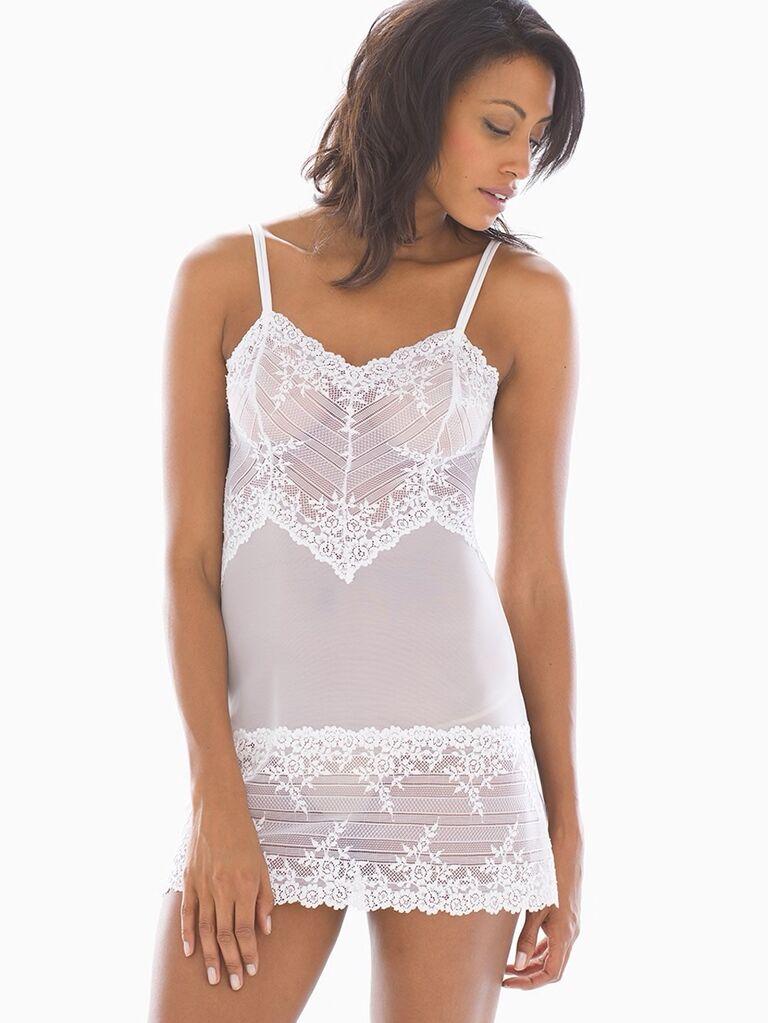 White lace bridal slip