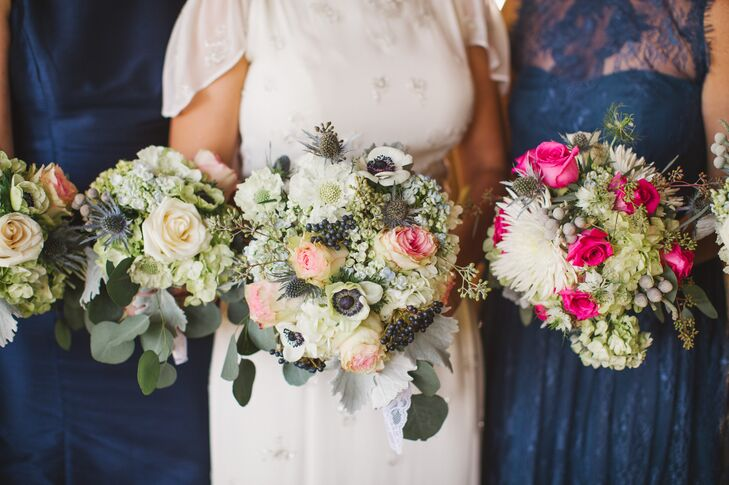 Rustic Green and White Bouquets