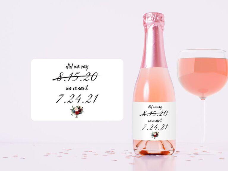"""Change the Date"" wedding favor wine label"