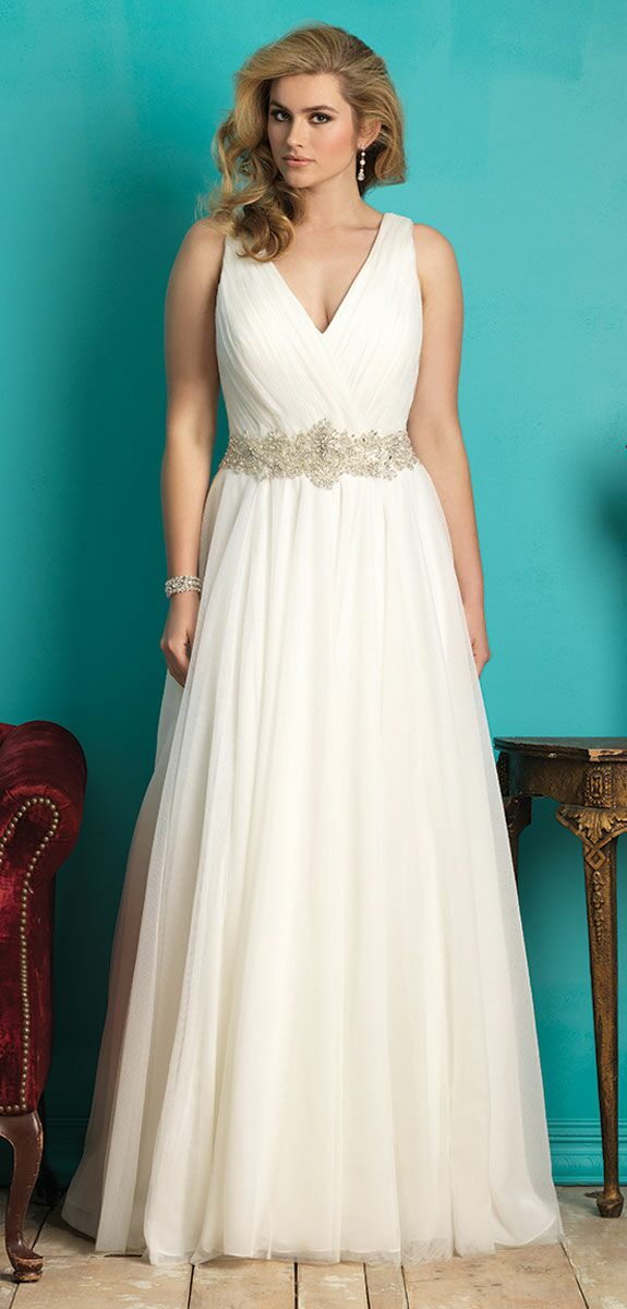 e148e29d917 Allure Bridals W362 plus size beach wedding dress with tulle skirt and  pleated V-neck