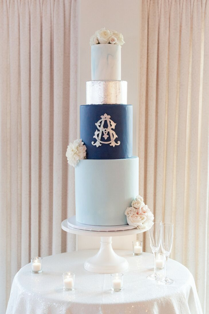 Monogrammed Blue-and-Silver Wedding Cake at Hay-Adams Hotel in Washington, DC