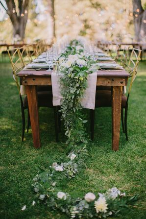 Elegant Rustic Outdoor Reception, Table Garland