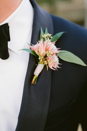 Pink Protea Boutonniere for Wedding in Norfolk, Virginia