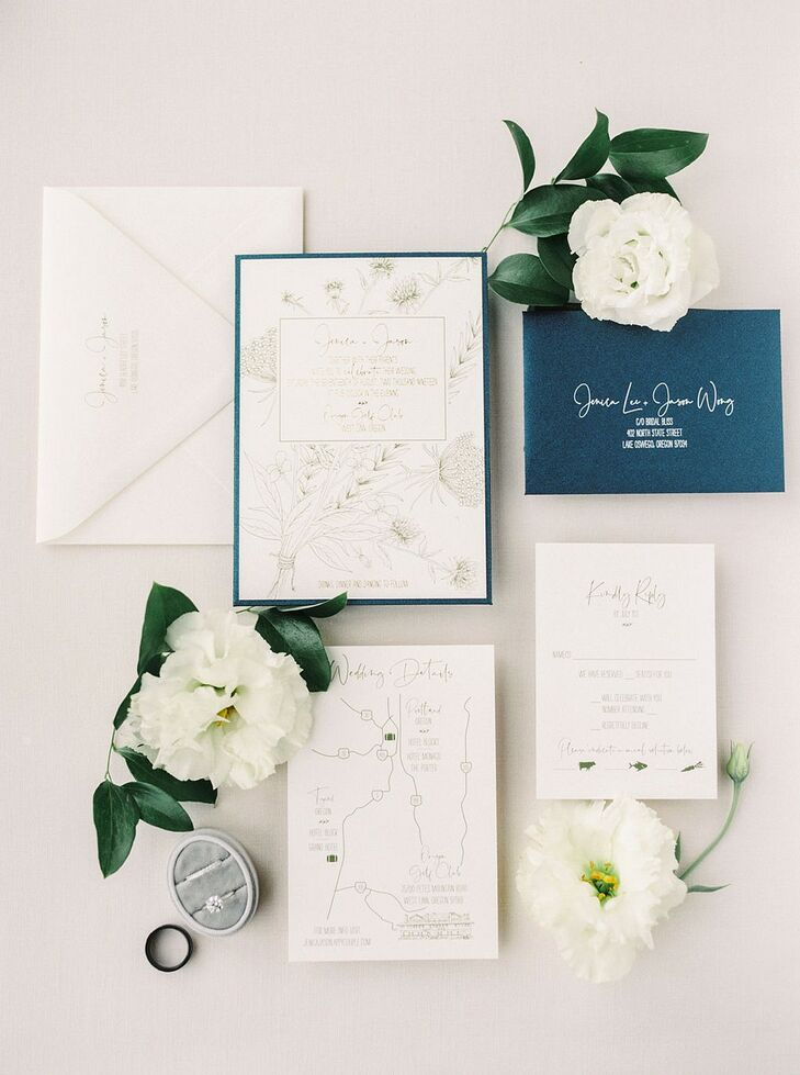Classic, Formal Navy and White Wedding Invitations