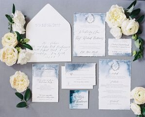 Blue Watercolor Invitation Suite with Calligraphy and Crest