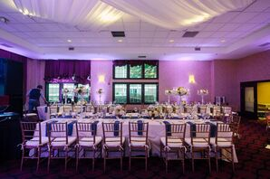 Long Dining Table with Purple Lighting