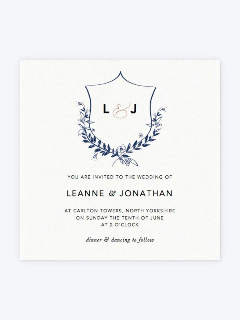 Papier floral crest spring wedding invitation