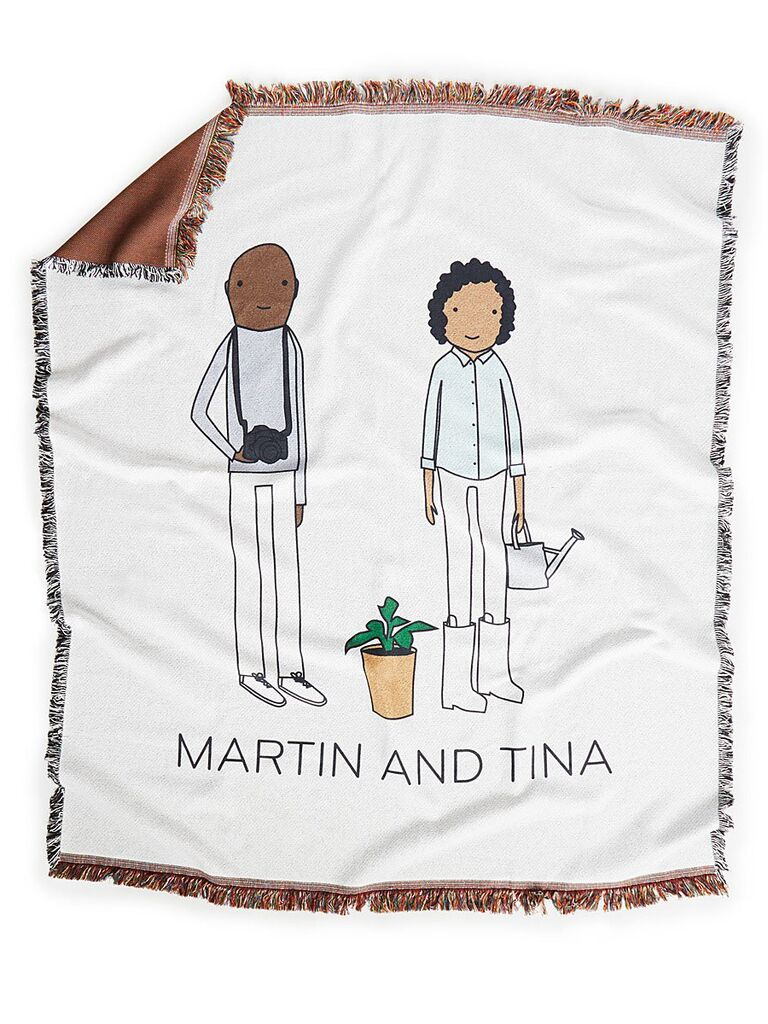Personalized couple's hobby throw blanket