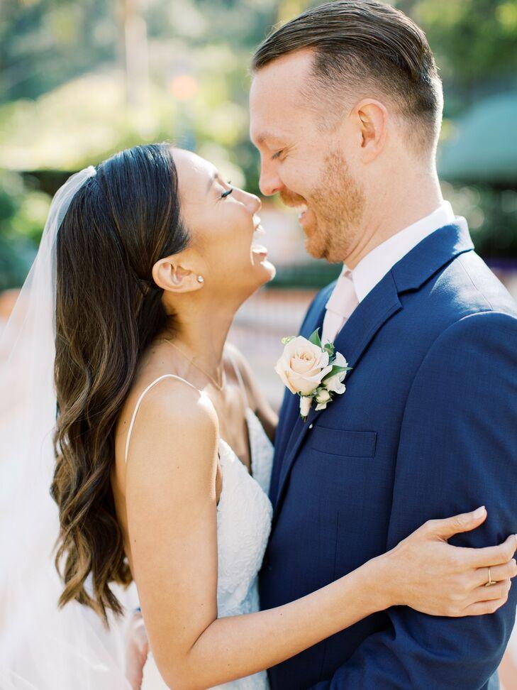 Couple Hugging and Laughing During Wedding at Rancho Las Lomas in Silverado, California