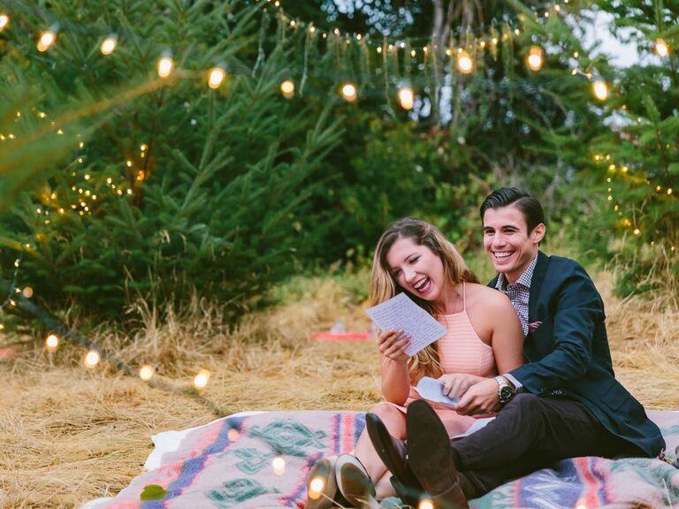 Romantic picnic marriage proposal note