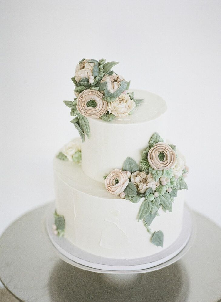 Modern Two-Tier Wedding Cake with Frosting Flowers