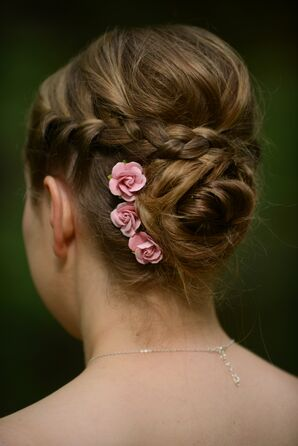 Braided Updo with Silk Flower Accents