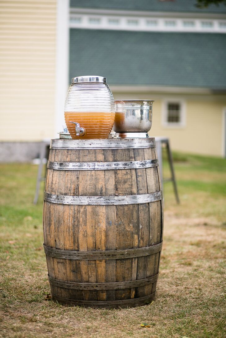 Maine Rustic Wooden-Barrel Drink Station