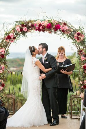 First Kiss at Villa Antonia in Austin, Texas