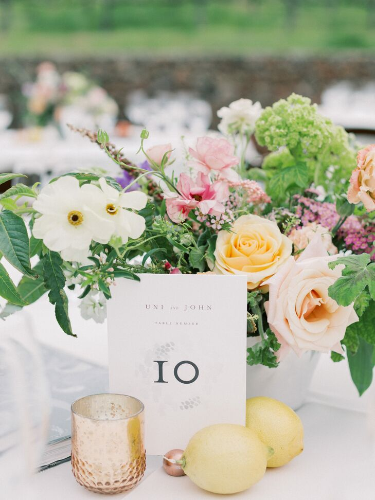 Romantic Flower Centerpiece, Table Number, Candle and Lemons