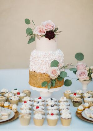 Round Tiered Cake with Textured Mismatched Layers