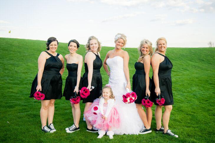 Black Bridesmaid Dresses Pink Flower Girl