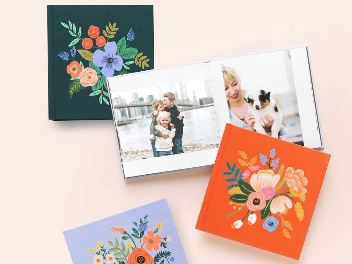 Colorful photo books with floral illustrated covers