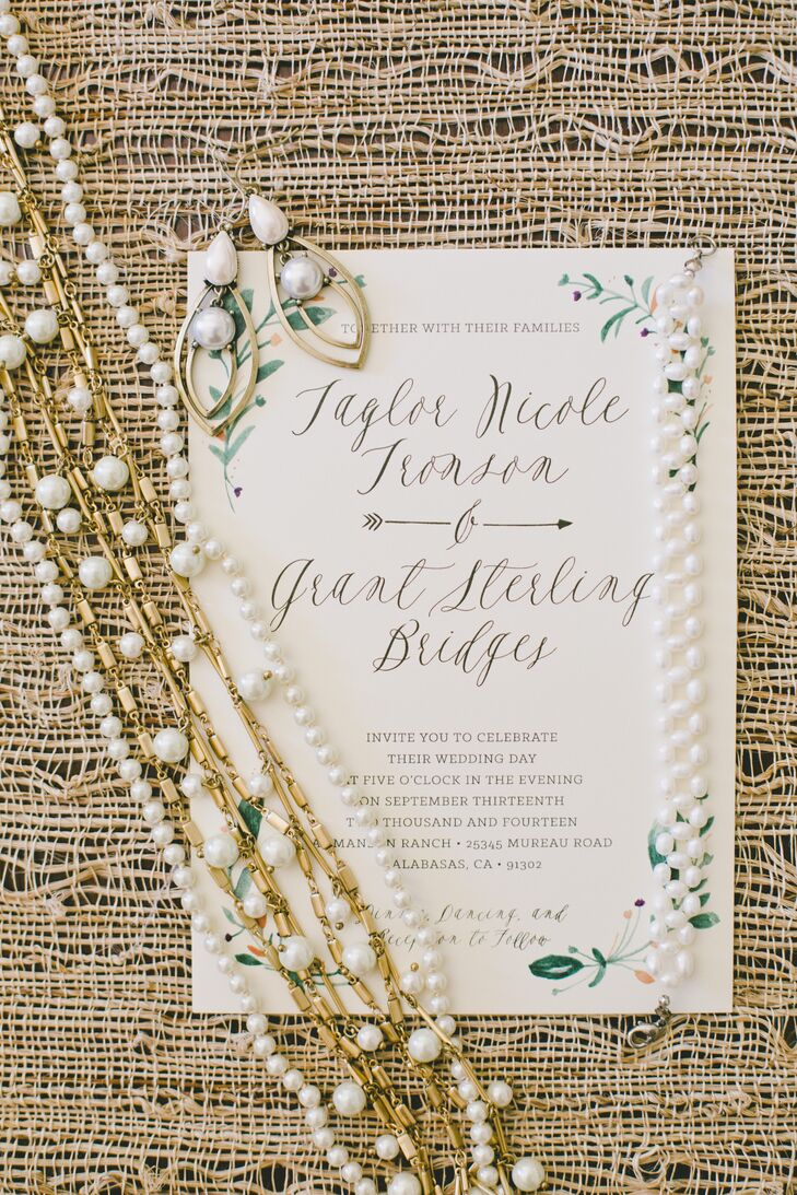 Taylor's friend Megan from Meg Loves Design created the invitations, including hand-painting the ivy garland design.