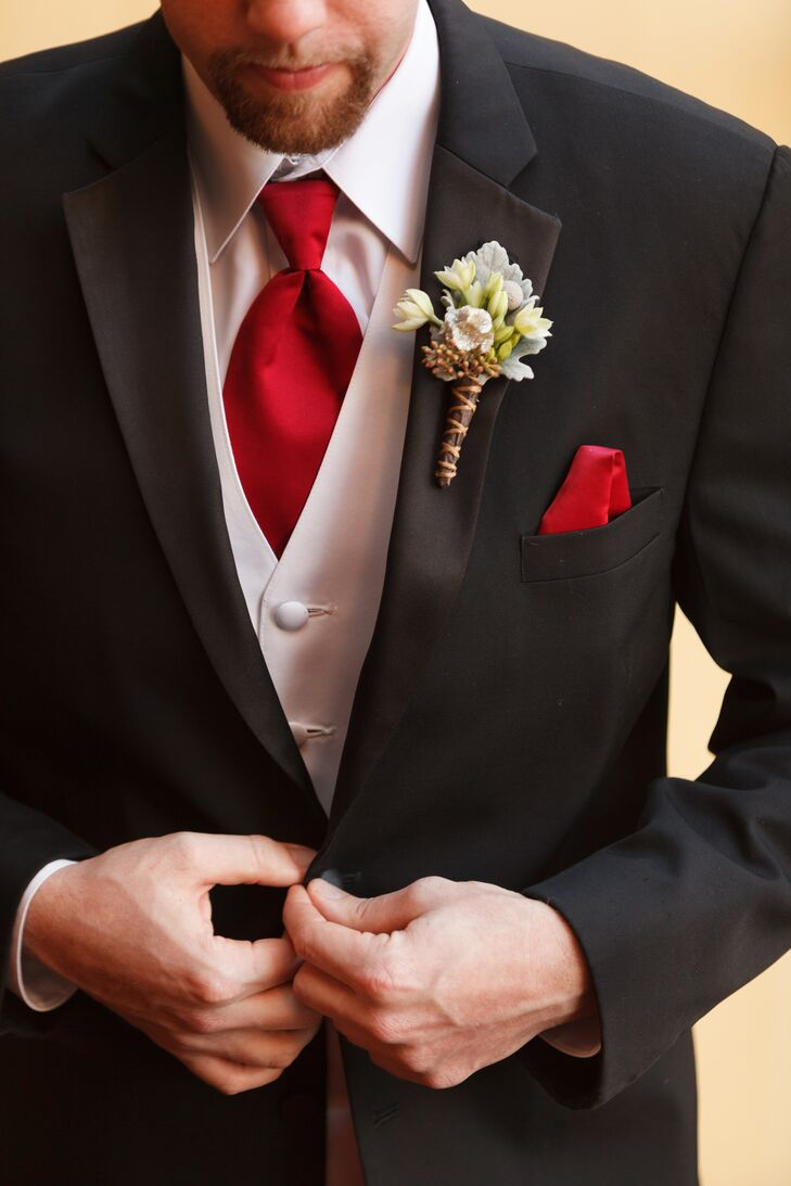 Black Tuxedo White Vest And Red Tie