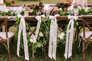Lush Garland and Ribbon Mr. and Mrs. Chairs