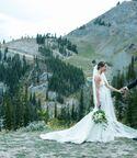 wedding couple in wyoming mountains