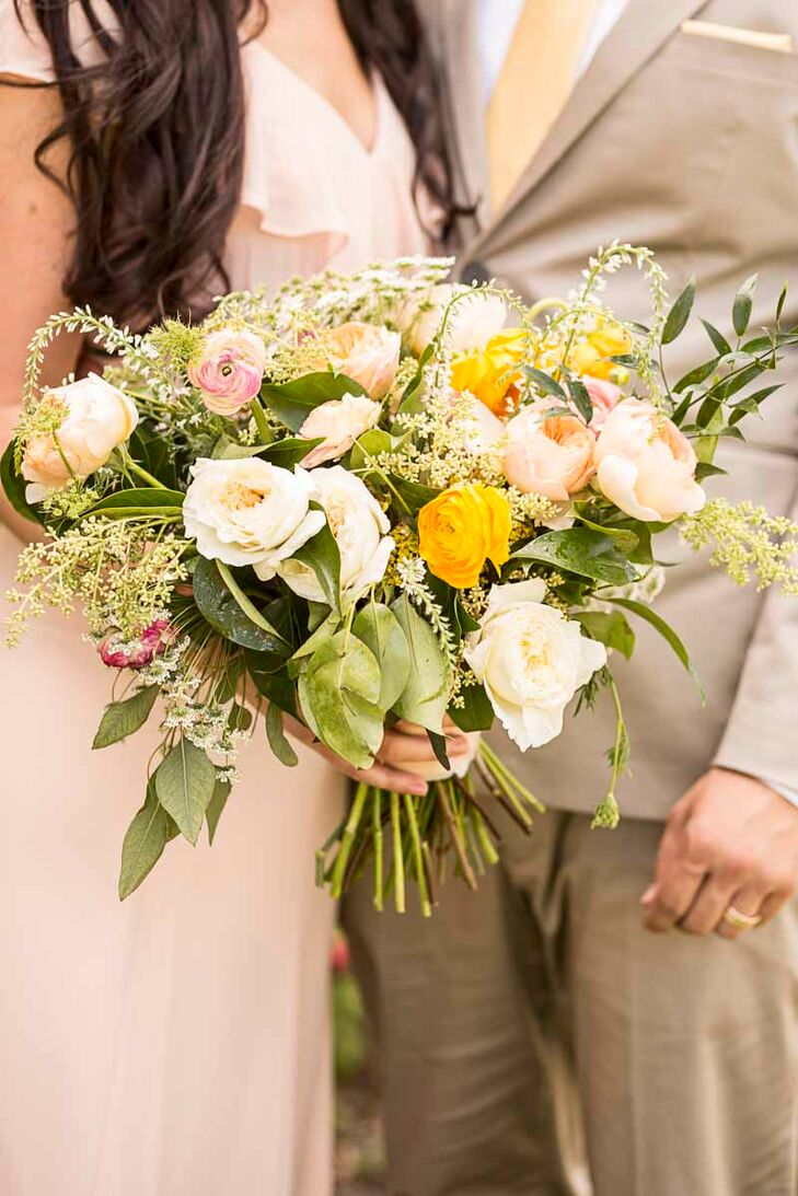 Yellow Peach And Pink Wildflower Bouquet