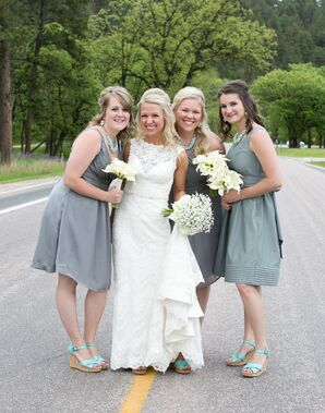 Briana and Bridesmaids in Gray Dresses