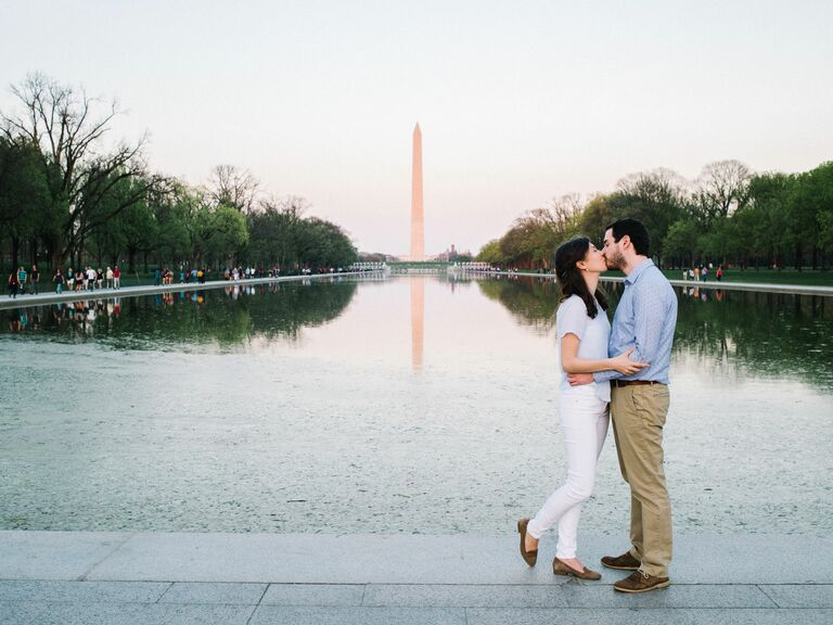 A Low-Key Engagement Shoot by the Lincoln Memorial in Washington, DC