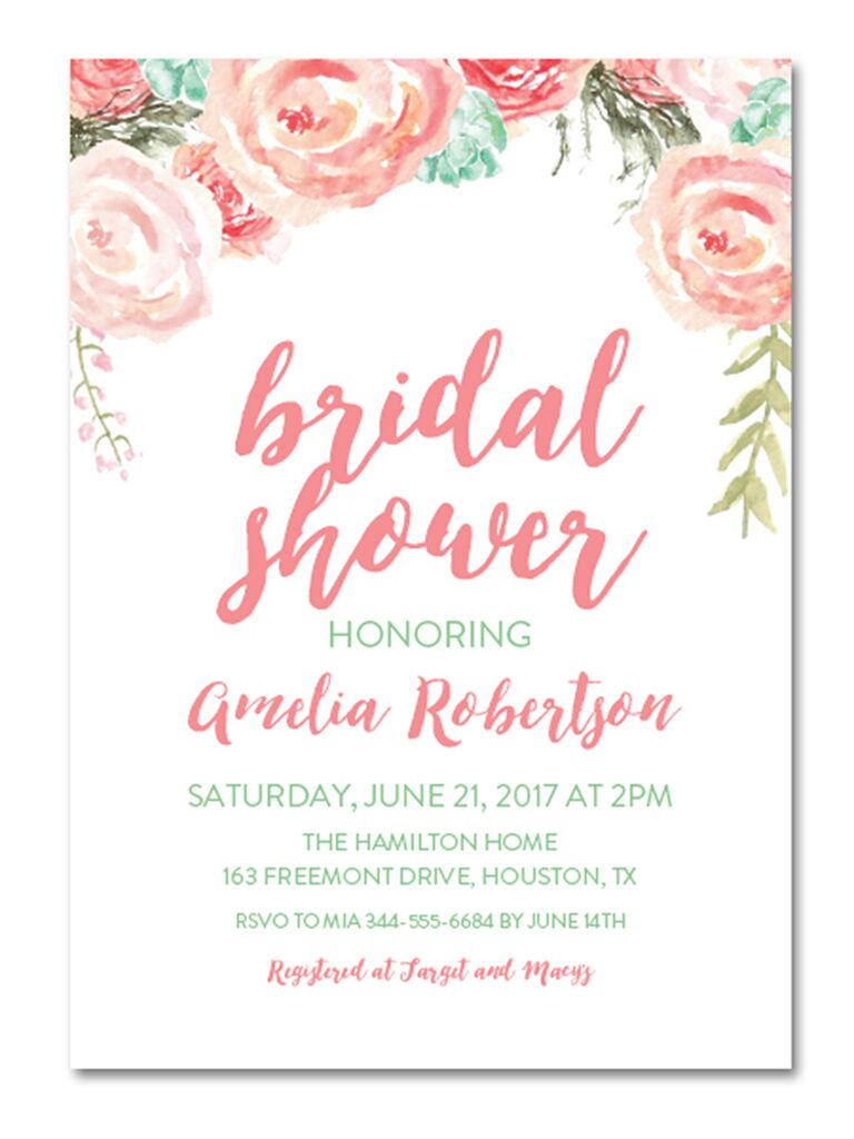 Mint And Blush Watercolor Fls Instant Diy Bridal Shower Invitation