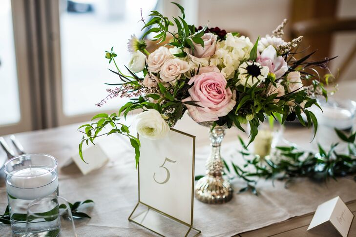 Rose, Thistle and Ranunculus Centerpieces