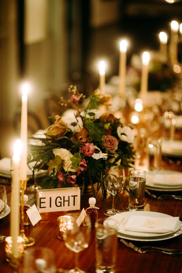 Modern Dining Table with Taper Candles, Table Number and Centerpiece