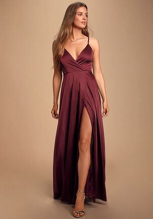 Lulus Ode To Love Burgundy Satin Maxi Dress V-Neck Bridesmaid Dress