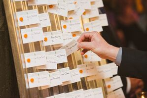 DIY Orange, Green and White Escort Cards