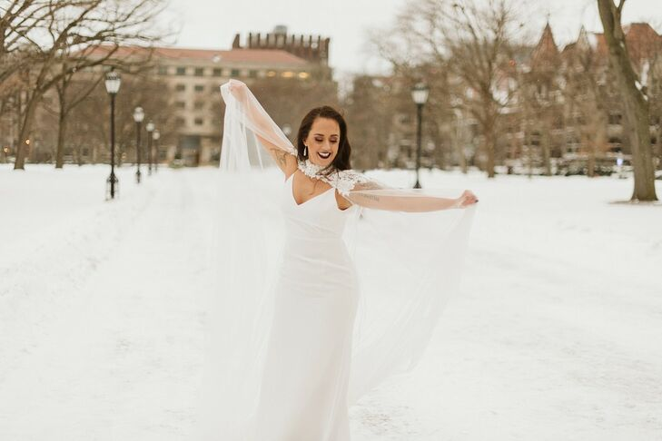 Elegant Winter Bride with Simple Wedding Dress, Cape and Dark Lipstick
